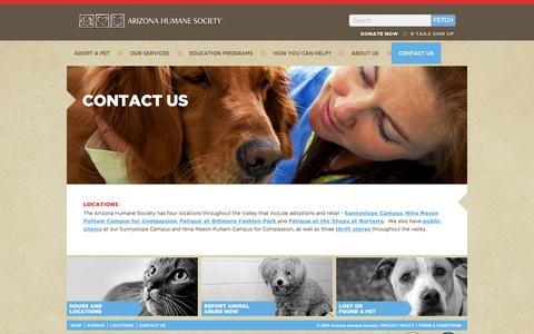 Screenshot of Contact Page azhumane.org - Contact Information - captured Sept. 19, 2014
