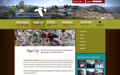 Screenshot of Signup Page ncascades.org - Sign Up — North Cascades Institute - captured Nov. 30, 2016