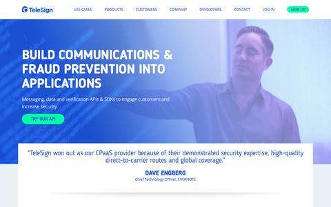 Screenshot of Home Page telesign.com - Home | TeleSign - captured April 19, 2017