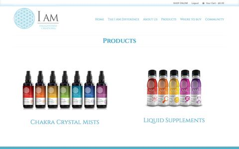 Screenshot of Products Page thinkiam.com - Products – I AM Enlightened Creations - captured Nov. 16, 2016