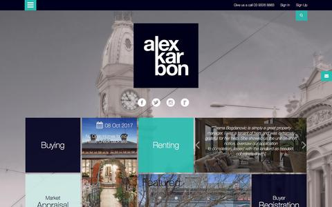 Screenshot of Home Page alexkarbon.com.au - Alexkarbon Real Estate specialises in real estate in Victoria (VIC) - Home Page - captured Oct. 7, 2017