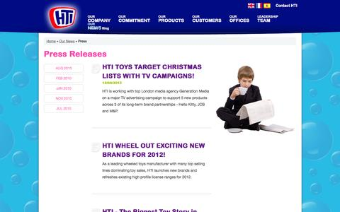Screenshot of Press Page htigroup.co.uk - Press | Our News | Children's Toys Manufacturer | Toy Design | Toy Distributors - HTI - captured Sept. 26, 2014