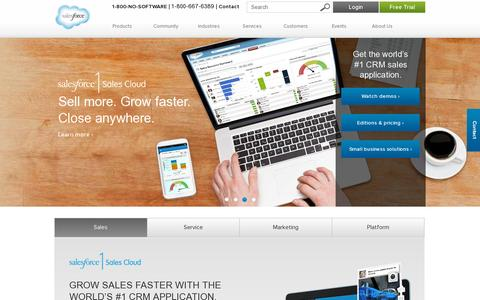 Screenshot of Home Page salesforce.com - CRM and Cloud Computing To Grow Your Business - Salesforce.com - captured July 11, 2014