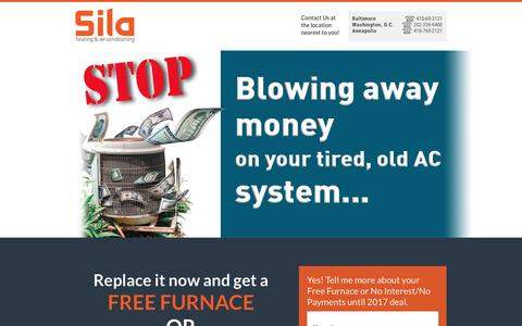 Screenshot of Landing Page sila.com - MD - Free Furnace or No Interest No Payments HVAC Deal - captured Oct. 19, 2016