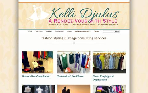 Screenshot of Services Page kellidjulus.com - Fashion Styling & Image Consulting Services » Kelli Djulus - captured Oct. 2, 2014