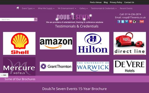 Screenshot of About Page Testimonials Page 77events.co.uk - Testimonials & Credentials - Doub7e Seven Events - captured Oct. 9, 2018