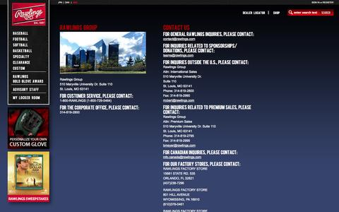 Screenshot of Contact Page rawlings.com - Rawlings - ContactPage - captured Oct. 31, 2014