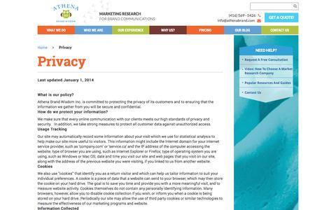 Screenshot of Privacy Page athenabrand.com - Privacy - Athena Brand Wisdom - captured Nov. 21, 2016