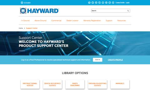 Screenshot of Support Page hayward-pool.com - Support Center | Hayward Residential and Commercial Pool Products - captured March 30, 2018
