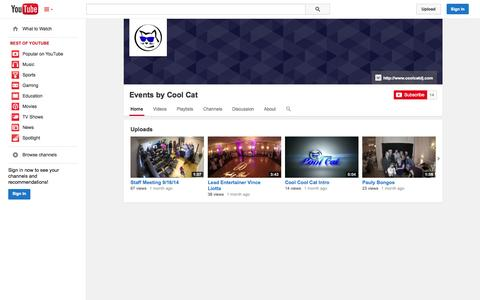 Screenshot of YouTube Page youtube.com - Events by Cool Cat  - YouTube - captured Nov. 2, 2014