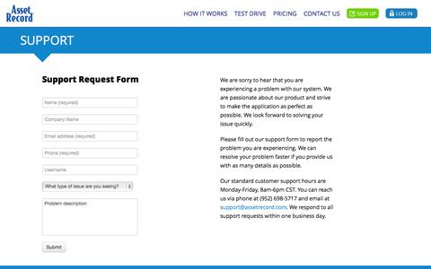 Screenshot of Support Page assetrecord.com - Support | Asset Record® - captured Oct. 4, 2014