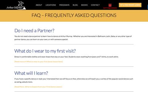 Screenshot of FAQ Page arthurmurraylive.com - Frequently Asked Questions | Arthur Murray Dance Studios - captured Nov. 1, 2019