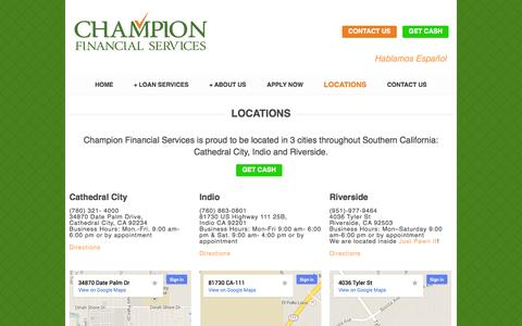 Screenshot of Locations Page championcashloans.com - Locations | Loan Services Palm Springs - captured Nov. 1, 2014