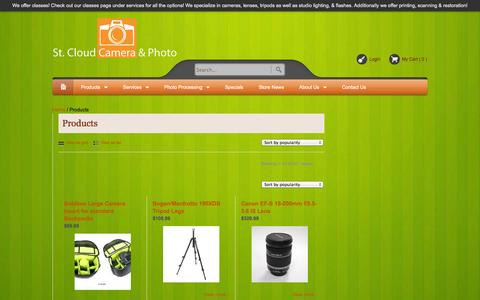 Screenshot of Products Page stcloudcameraandphoto.com - Products | St. Cloud Camera & Photo - captured Oct. 6, 2014