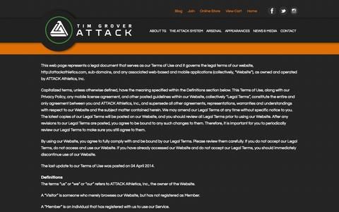 Screenshot of Terms Page attackathletics.com - Attack Athletics  » Terms - captured Sept. 30, 2014