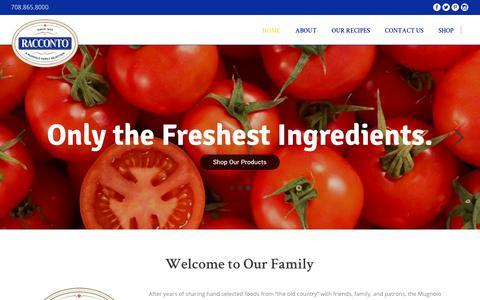 Screenshot of Home Page racconto.com - Racconto Italian Foods – A Mugnolo Family Selection - captured Nov. 18, 2018