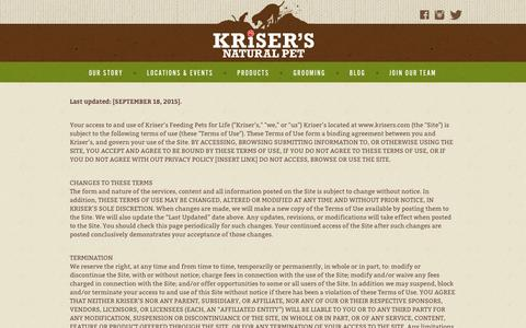 Screenshot of Terms Page krisers.com - Terms | Natural Pet Store | Kriser's - captured March 15, 2017