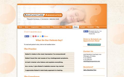 Screenshot of Testimonials Page happyacupuncture.com - TestimonialsTestimonials for Acupuncture AssociatesAcupuncture Associates - captured Oct. 4, 2014