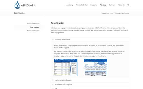 Screenshot of Case Studies Page astrolabs.com - Case Studies - AstroLabs - captured Oct. 29, 2014