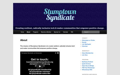 Screenshot of About Page stumptownsyndicate.org - About | Stumptown Syndicate - captured Oct. 9, 2014