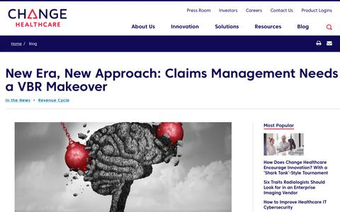 Screenshot of Team Page changehealthcare.com - New Era, New Approach: Claims Management Needs a VBR Makeover | Change Healthcare - captured Feb. 20, 2020