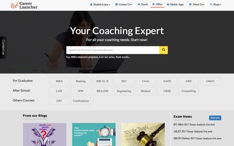 Screenshot of Home Page careerlauncher.com - Coaching for CAT, CLAT, IPM, UPSC, BANK, SSC, IIT JEE, GRE, GMAT,SAT exams - captured May 14, 2017