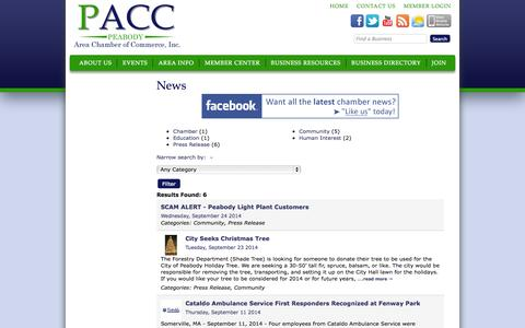 Screenshot of Press Page peabodychamber.com - News - Peabody Area Chamber of Commerce - PACC - captured Oct. 2, 2014