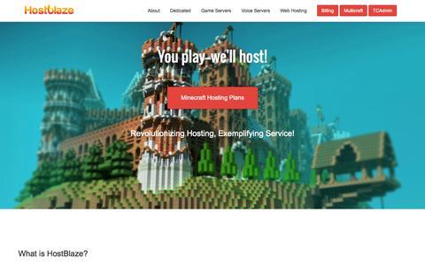 Screenshot of Home Page host-blaze.net - Minecraft Server Hosting - HostBlaze - Home - captured Sept. 30, 2014