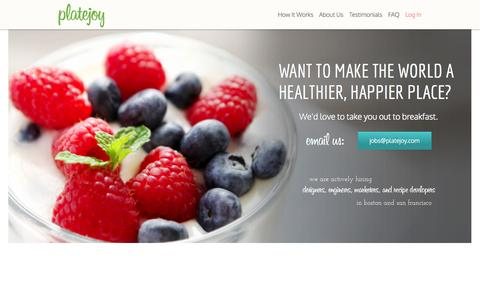 Screenshot of Jobs Page platejoy.com - Healthy Eating for Busy People | PlateJoy - captured Sept. 17, 2014