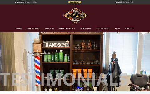 Screenshot of Testimonials Page menzone-style.com - Testimonials ~ MenZone ~ The Tri-Cities Premier Men's Barber Shop - captured Oct. 17, 2018