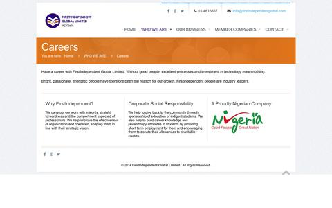 Screenshot of Jobs Page firstindependentglobal.com - Careers | FirstIndependent Global Limited - captured Oct. 27, 2014