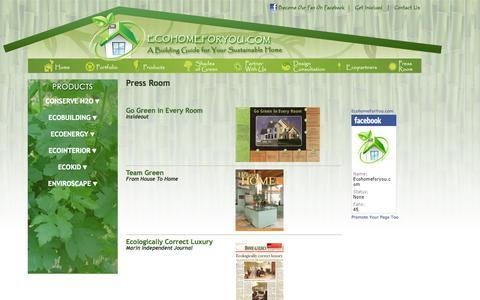 Screenshot of Press Page ecohomeforyou.com - EcoHomeForYou.com | Press Room - captured Sept. 30, 2014