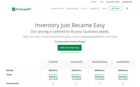 Screenshot of Pricing Page forecastrx.com - Inventory Management & Demand Planning Software Pricing | ForecastRX - captured July 8, 2018