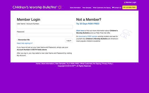 Screenshot of Login Page childrensbulletins.com - Worship for Kids   Bible Lessons for Children   Children's Worship Bulletins - captured Nov. 8, 2018