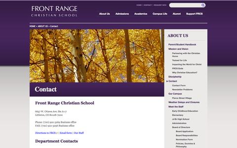 Screenshot of Contact Page frcs.org - Contact | Front Range Christian School - captured Oct. 6, 2014