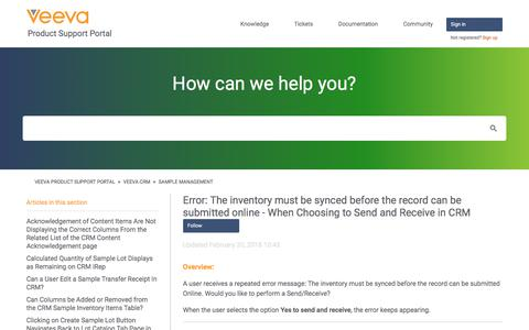 Screenshot of Support Page veeva.com - Error: The inventory must be synced before the record can be submitted online - When Choosing to Send and Receive in CRM – Veeva Product Support Portal - captured Sept. 26, 2018