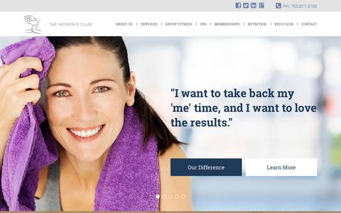 Screenshot of Home Page thewomens-club.com - Women's Health and Fitness Center & Day Spa - A Northern Virginia Health Club - captured Feb. 16, 2016