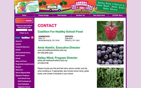 Screenshot of Contact Page healthyschoolfood.org - Contact NY Coalition for Healthy School Food - captured Oct. 19, 2018