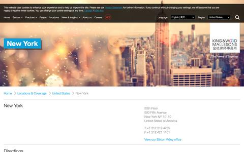 Screenshot of Contact Page kwm.com - KWM | New York - captured March 20, 2019