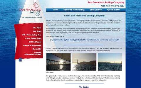 Screenshot of About Page sailsf.com - About Us :: The San Francisco Sailing Company - captured Oct. 3, 2014