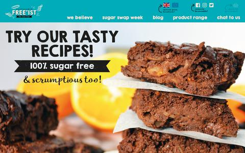 Screenshot of Home Page freeist.co.uk - Sugar Free & Gluten Free Snacks | N Ireland | Free'ist - captured Aug. 22, 2018
