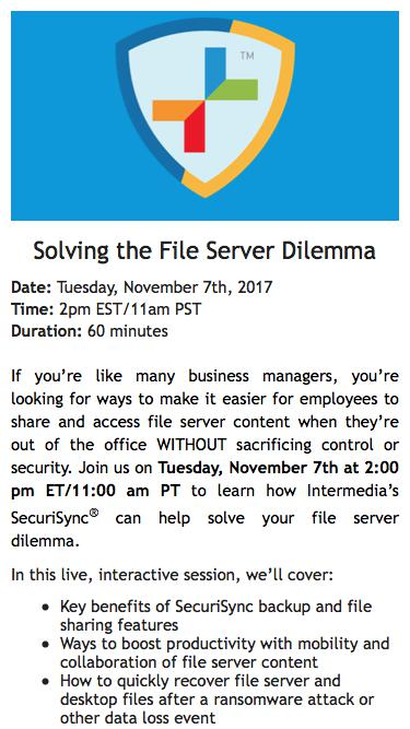Webinar Registration | Solving the File Server Dilemma