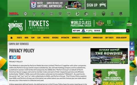 Screenshot of Privacy Page rowdiessoccer.com - Rowdies Privacy Policy - captured Sept. 23, 2014