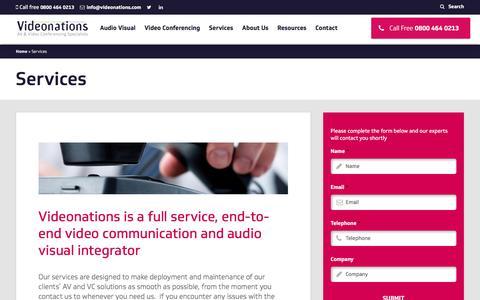 Screenshot of Services Page videonationsltd.co.uk - Services - Videonations - captured Nov. 6, 2016