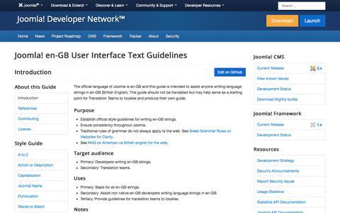 Screenshot of Developers Page joomla.org - en-GB User Interface Text Guidelines - captured Nov. 6, 2019