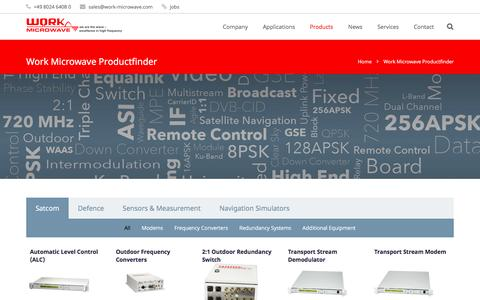 Screenshot of Products Page work-microwave.com - Work Microwave Productfinder - WORK Microwave - captured Nov. 30, 2016