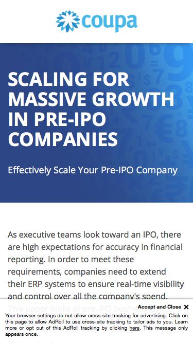AP Automation and ERP Systems | Pre-IPO High Growth Business Solutions | Coupa Software