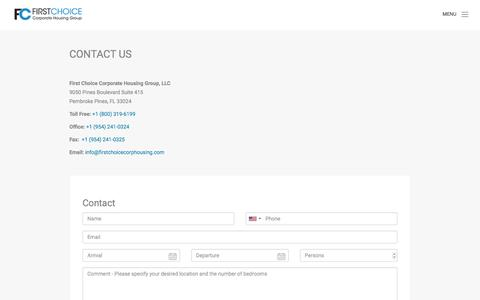 Screenshot of Contact Page firstchoicecorphousing.com - CONTACT - captured Oct. 13, 2017