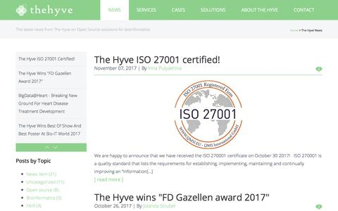 Screenshot of Press Page thehyve.nl - News | The Hyve - captured Nov. 9, 2017
