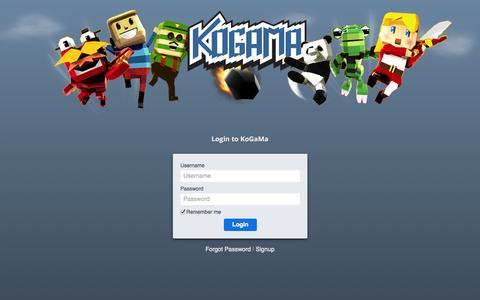 Screenshot of Login Page kogama.com - KoGaMa - The Social Builder - captured Oct. 26, 2014
